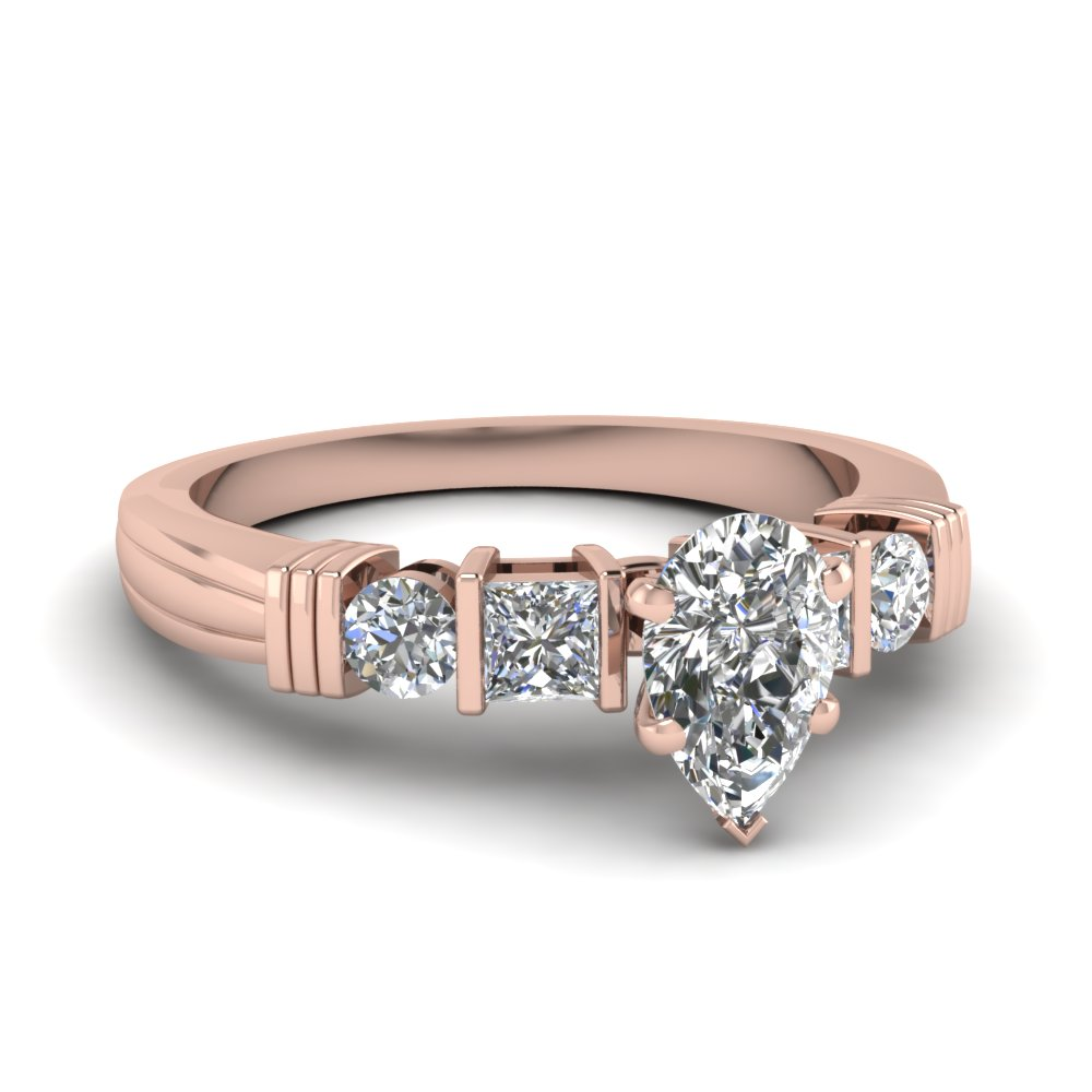 Bar Pear Diamond Engagement Ring In 18K Rose Gold
