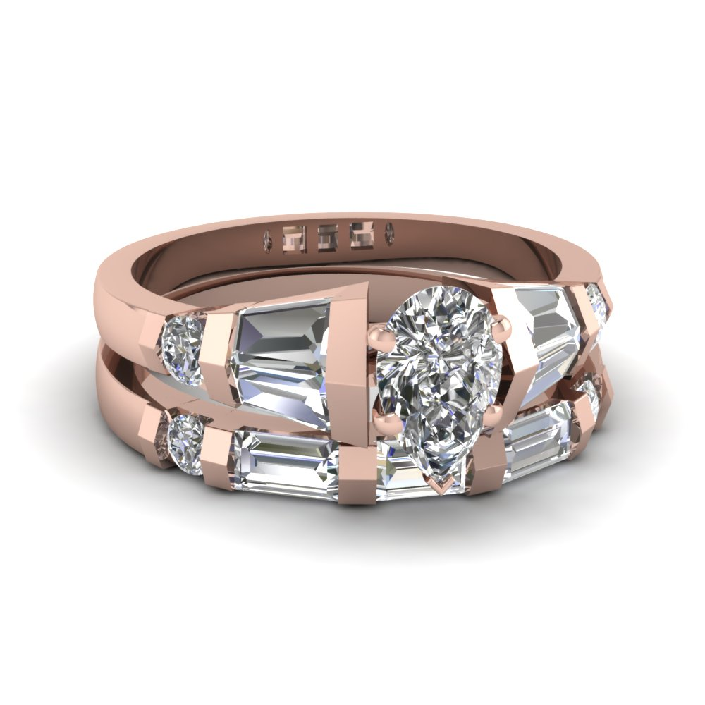 tapered baguette unique diamond engagement and wedding ring sets in rose gold - Unique Wedding Ring Set