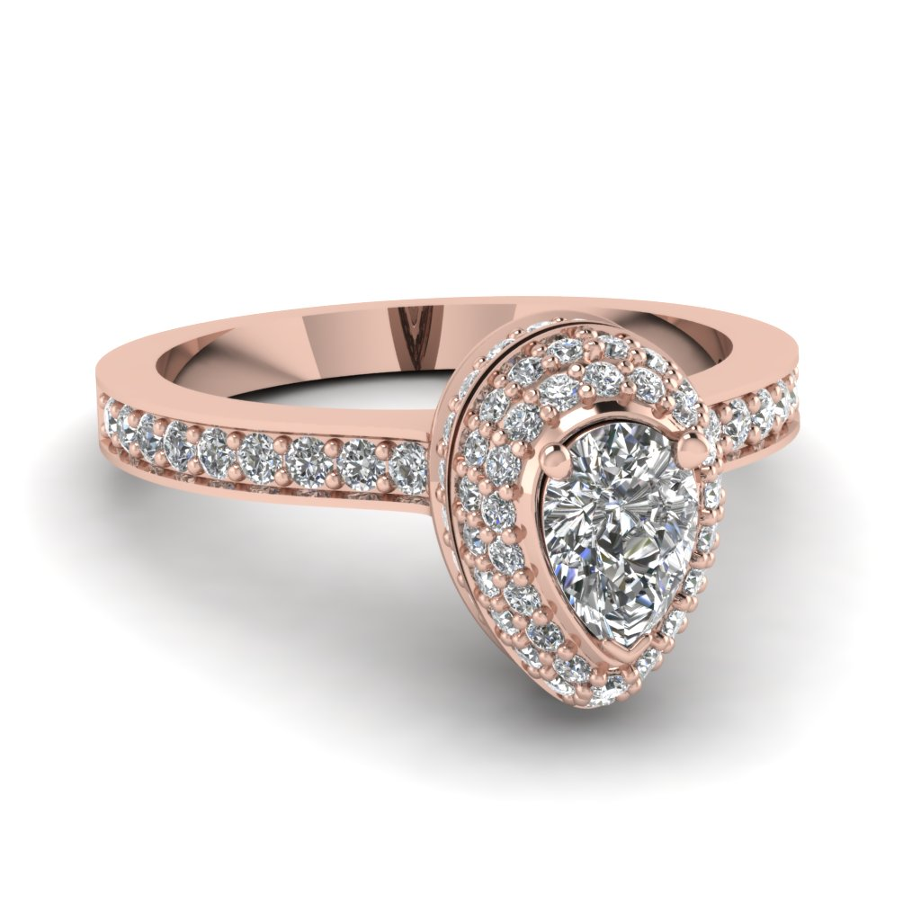 Rose Gold Pear White Diamond Engagement Wedding Ring In Pave Set