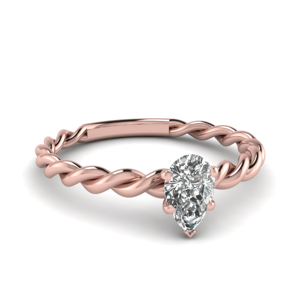 Pear Shaped Diamond Solitaire Engagement Rings In 14k Rose Gold