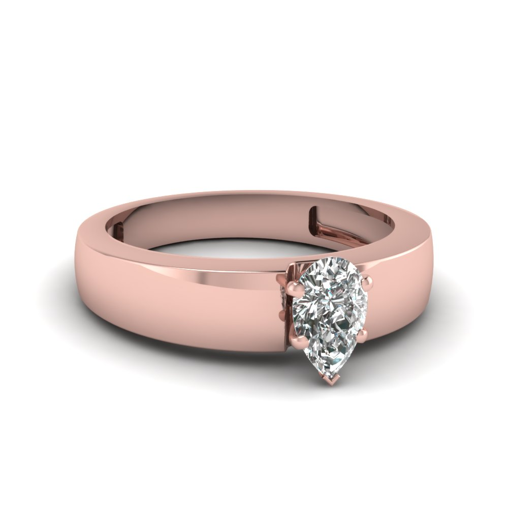 Flat Solitaire Pear Shaped Engagement Ring In 14K Rose Gold ...