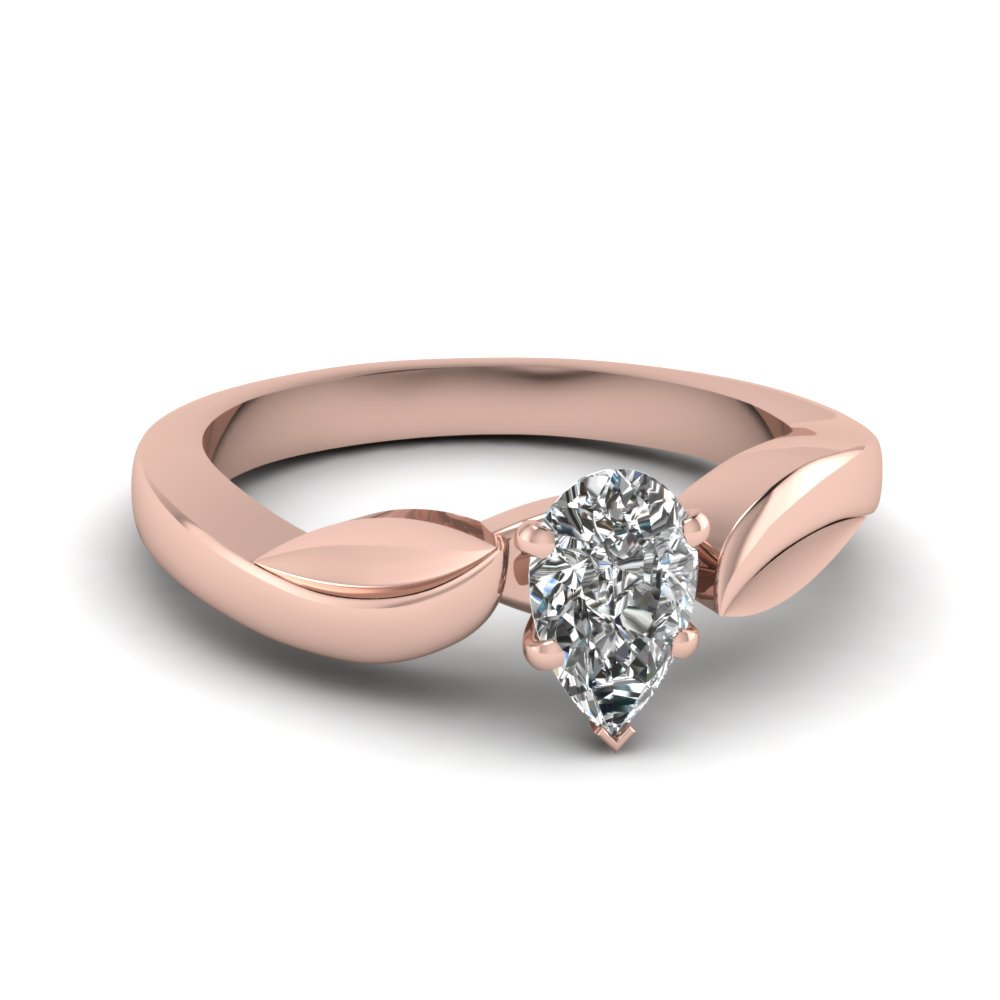 Leaf Pear Shaped Diamond Solitaire Ring