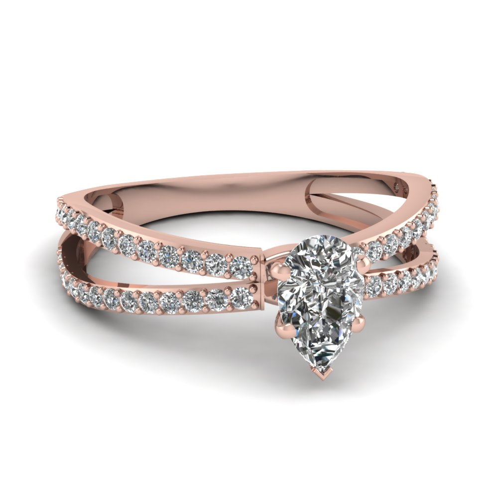 Pear Shaped Diamond Split Shank Engagement Ring With White Diamond In 14k Rose  Gold