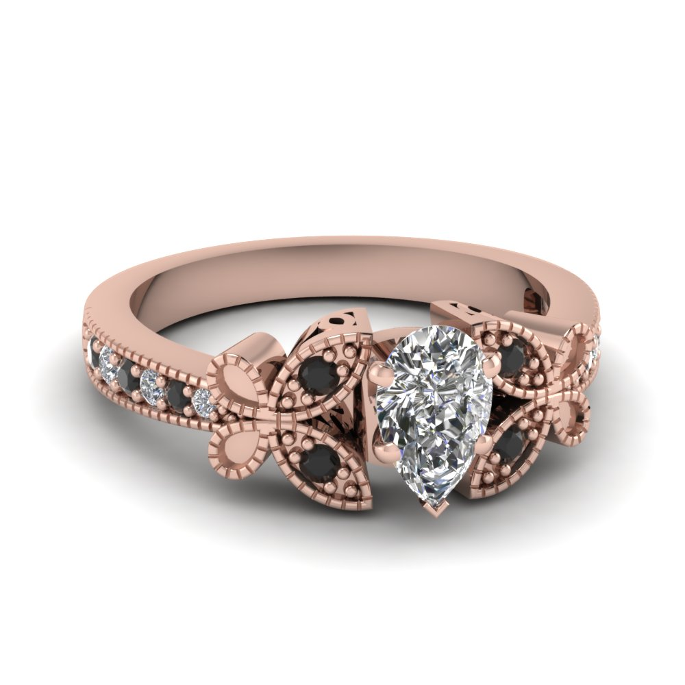 Pear Shaped Diamond Milgrain Engagement Rings With Black Diamond In 14k Rose  Gold