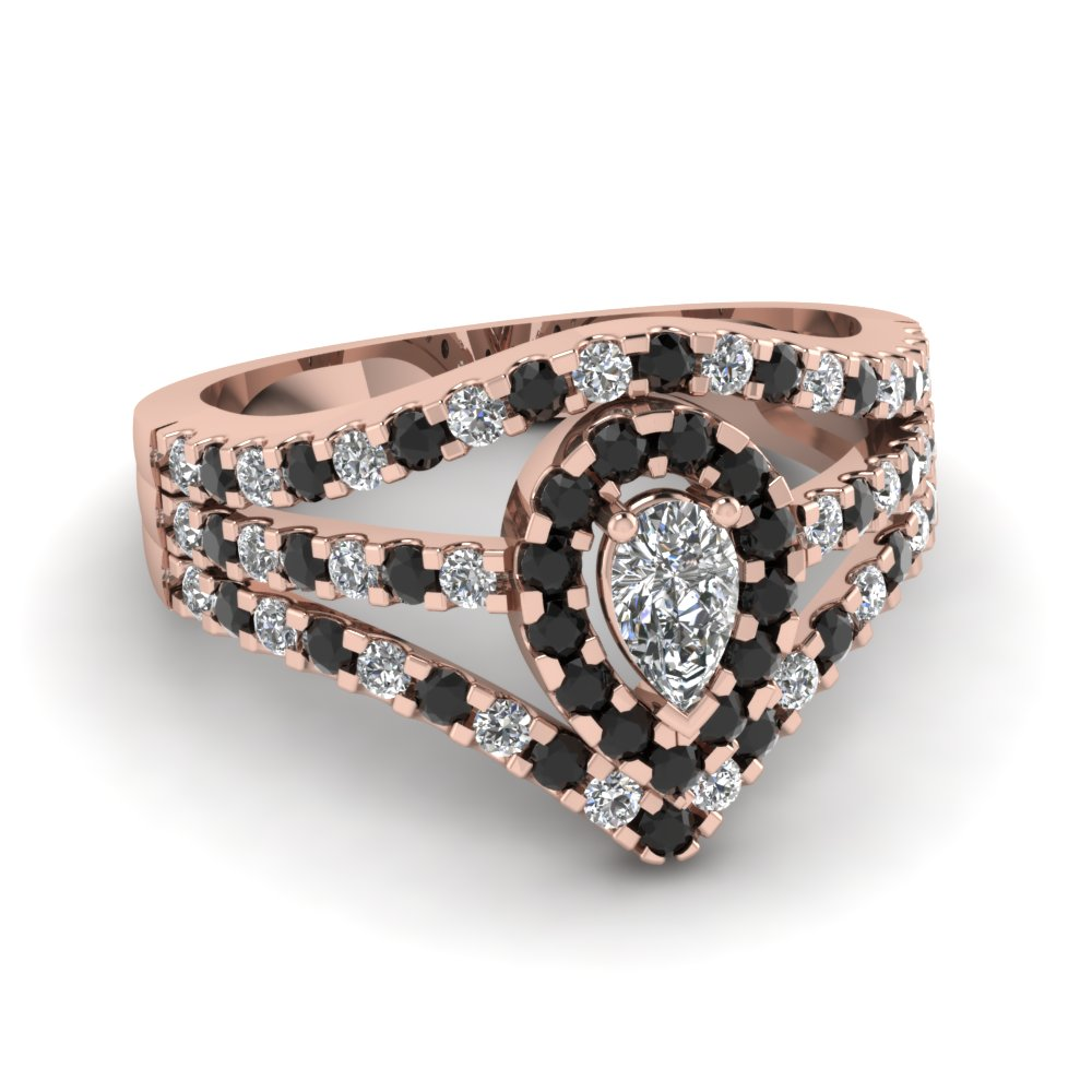 Pear Shaped Diamond Halo Engagement Rings With Black Diamond In 18k Rose  Gold