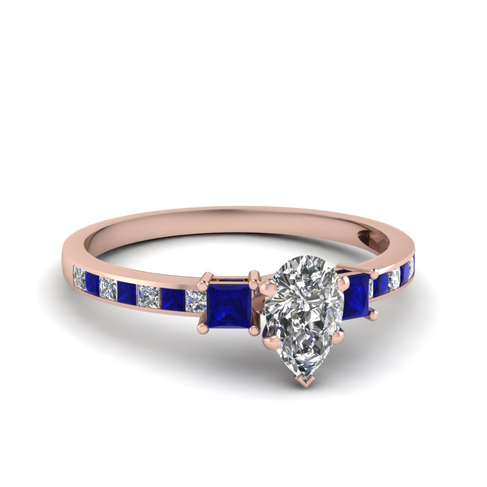 delicate 3 stone pear diamond engagement ring with sapphire in FDENS3022PERGSABL NL RG 30