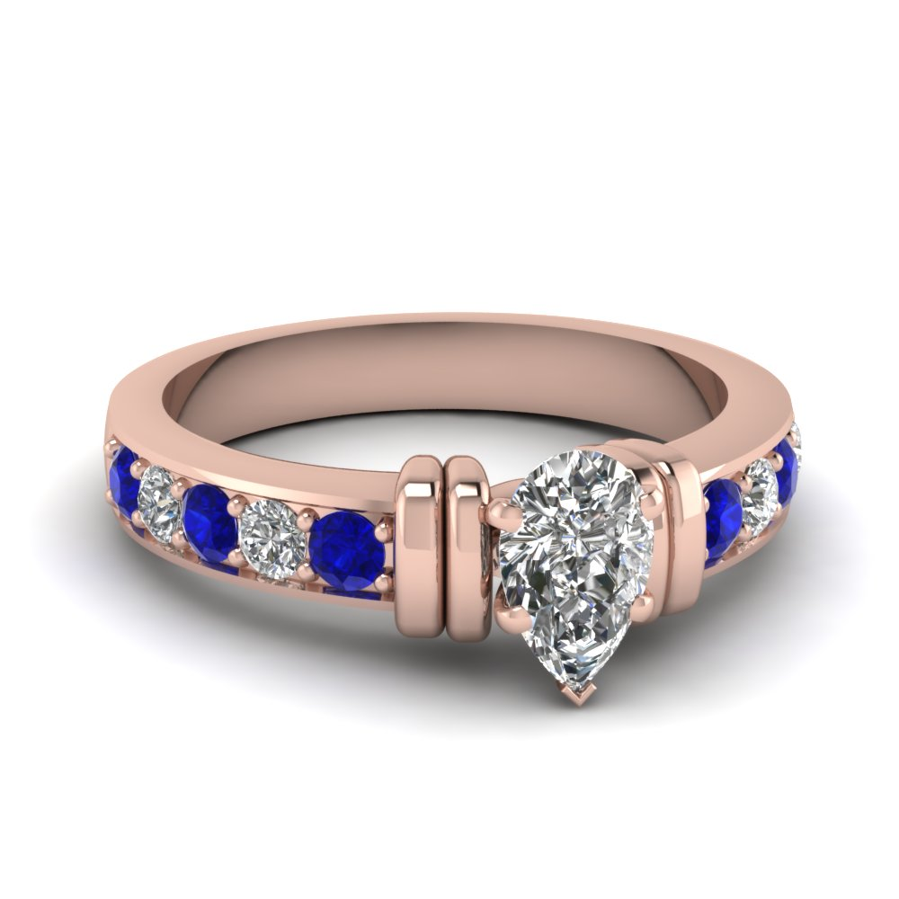 simple bar set pear diamond engagement ring with sapphire in FDENR957PERGSABL Nl RG