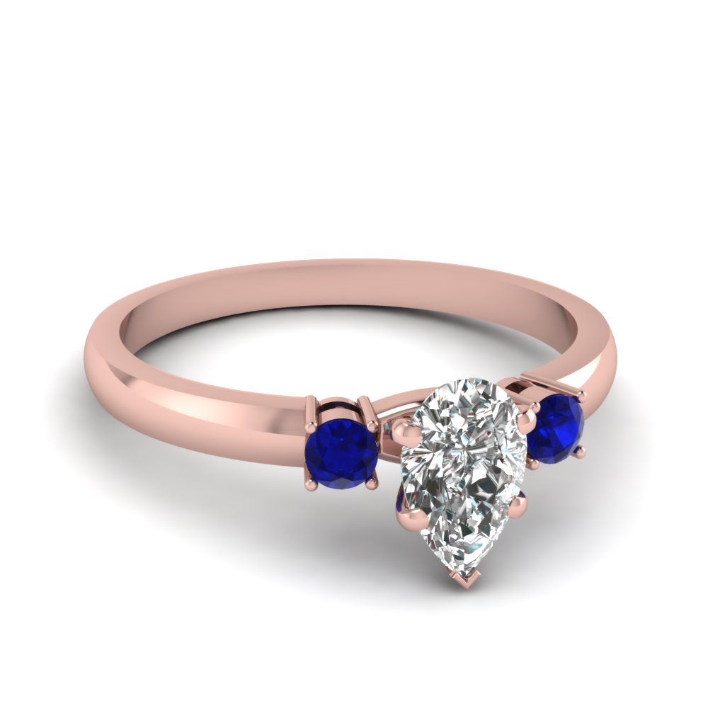 basket prong pear diamond 3 stone ring with sapphire in FDENS3106PERGSABL NL RG