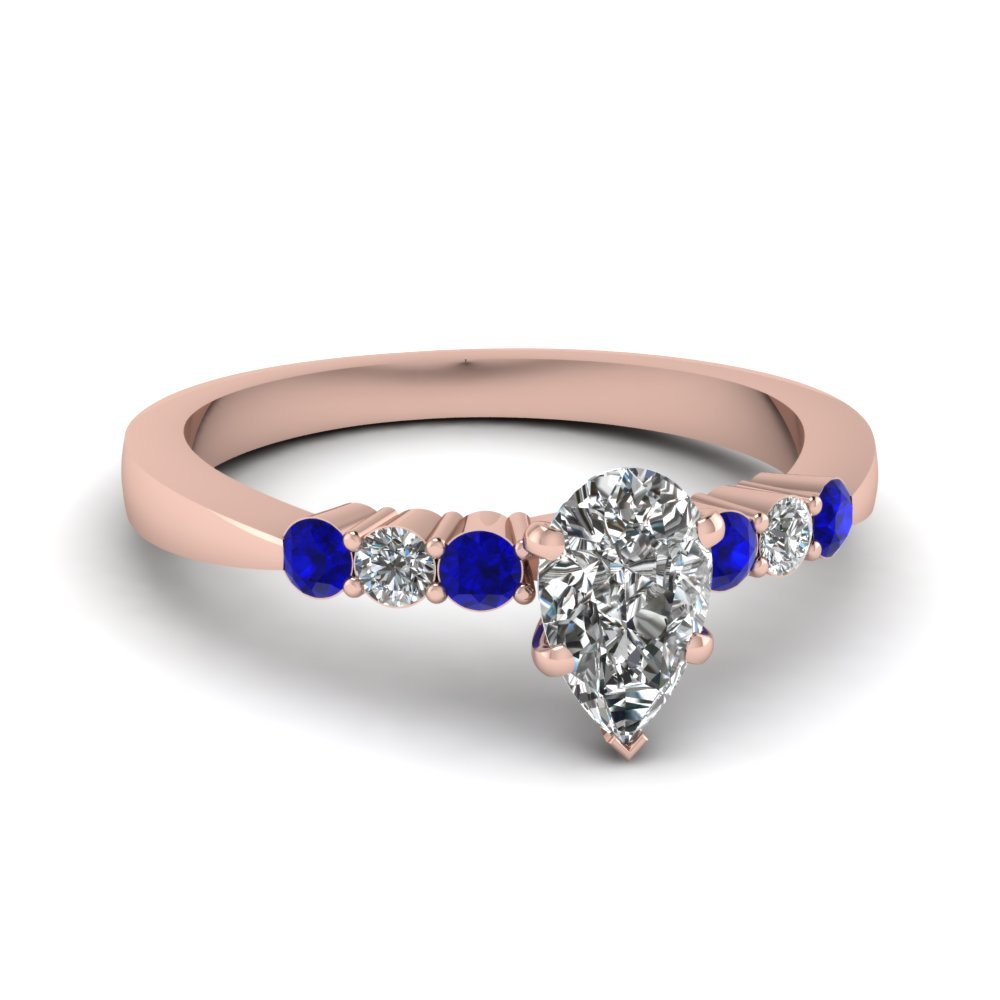 Pear Shaped Diamond Side Stone Engagement Rings With Blue Sapphire In 14k Rose  Gold