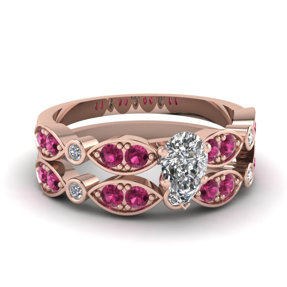 rose-gold-pear-white-diamond-engagement-wedding-ring-with-dark-pink-sapphire-in-pave-bezel-set-FDENS2035PEGSADRPI-NL-RG