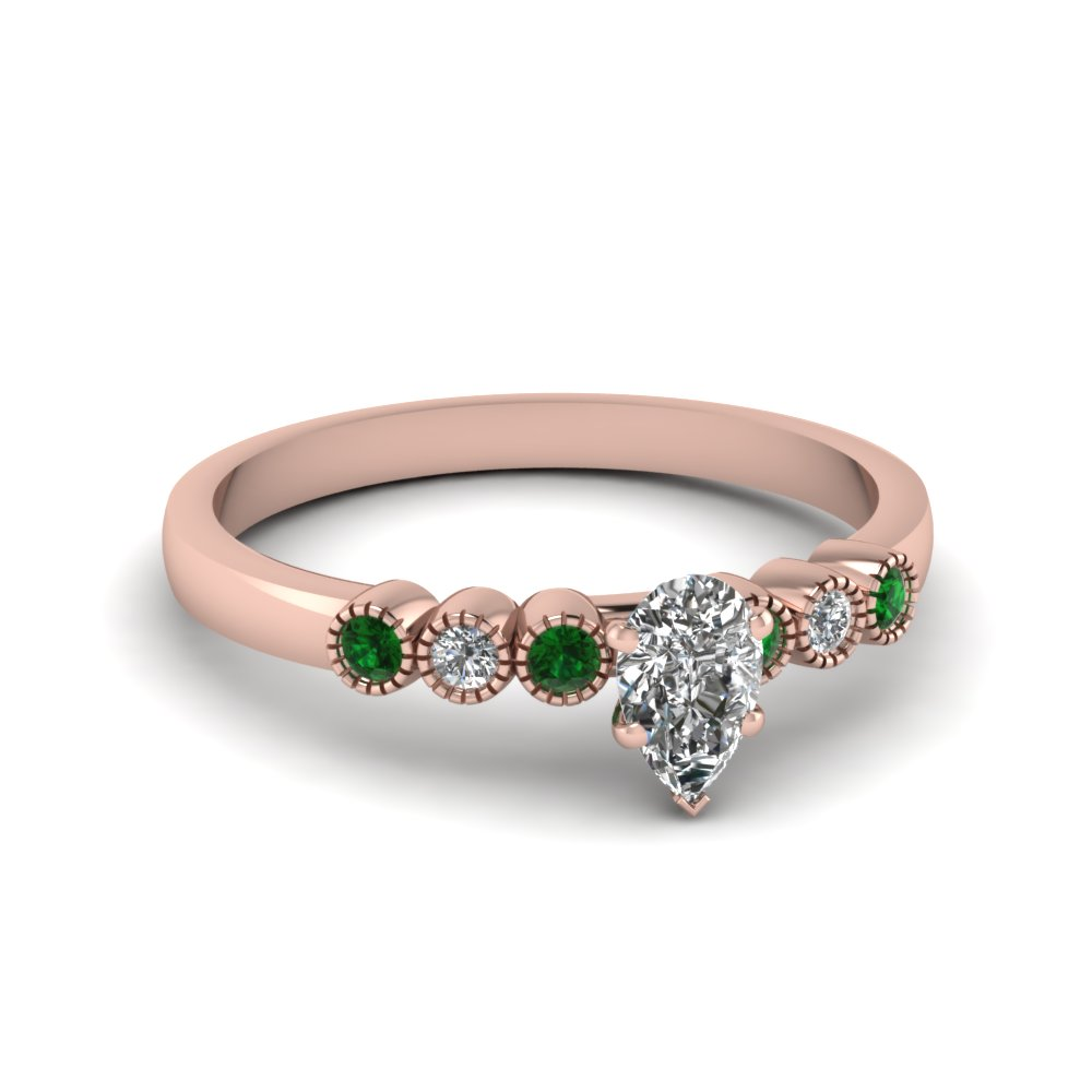 Pear Cut Emerald Petite Engagement Rings