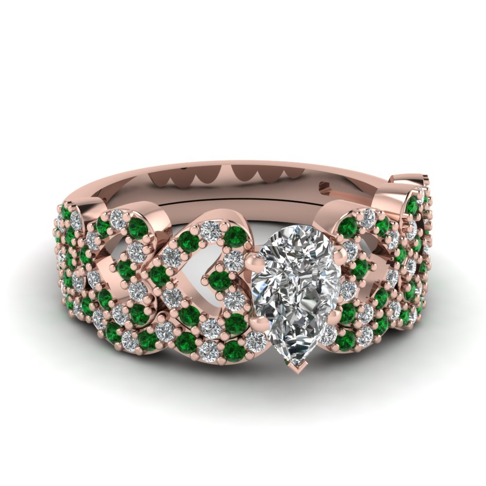 pear shaped heart design linked diamond wedding set with emerald in FDENS3051PEGEMGR NL RG.jpg