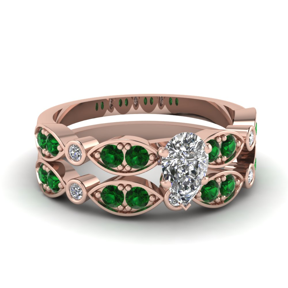 rose-gold-pear-white-diamond-engagement-wedding-ring-with-green-emerald-in-pave-bezel-set-FDENS2035PEGEMGR-NL-RG