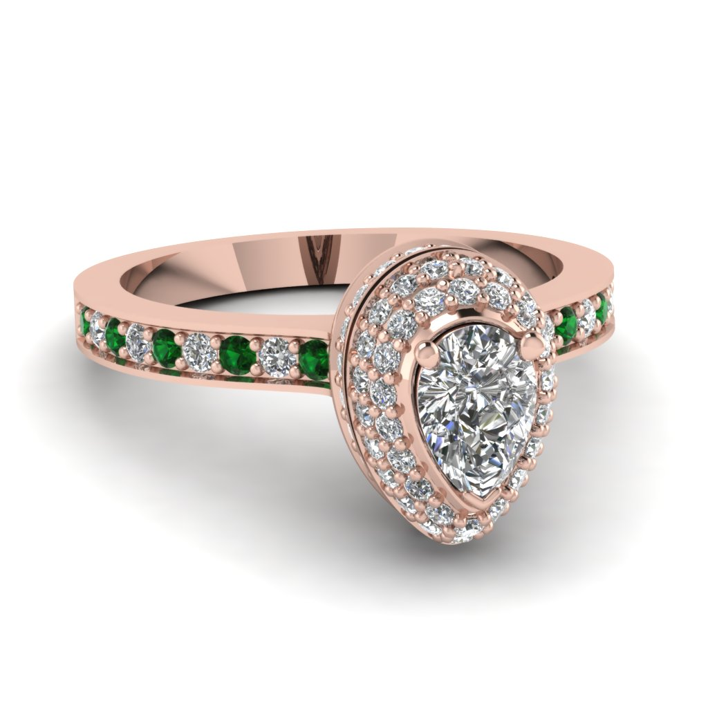Rose Gold Pear Shaped Halo Engagement Rings