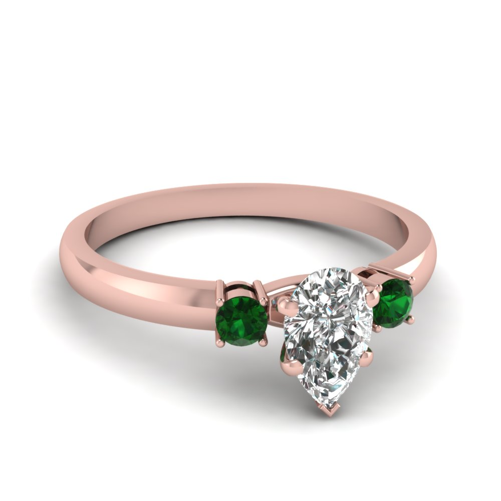 basket prong pear diamond 3 stone ring with emerald in FDENS3106PERGEMGR NL RG