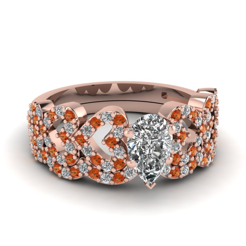 pear shaped heart design linked diamond wedding set with orange sapphire in FDENS3051PEGSAOR NL RG.jpg