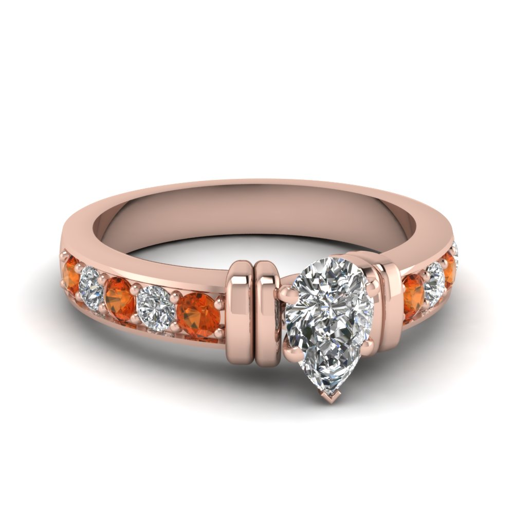 simple bar set pear diamond engagement ring with orange sapphire in FDENR957PERGSAOR Nl RG