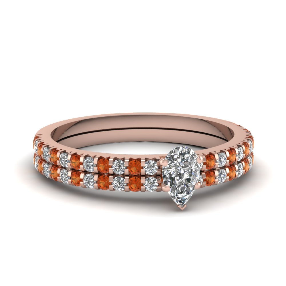 floating thin pear diamond wedding ring set with orange sapphire in FDENS3009PEGSAOR NL RG 30