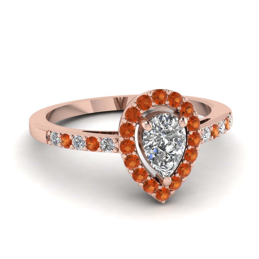 teardrop halo diamond engagement ring with orange sapphire in FDENR8809PERGSAOR NL RG