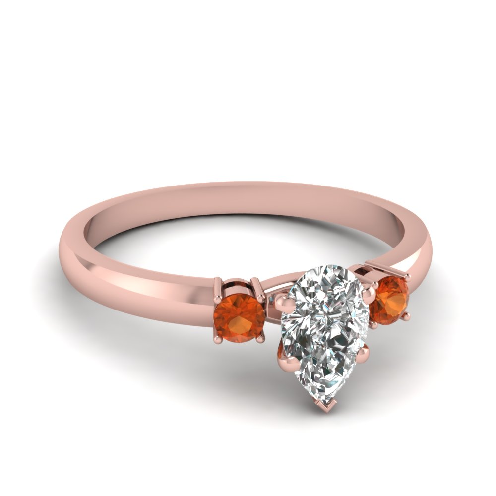 basket prong pear diamond 3 stone ring with orange sapphire in FDENS3106PERGSAOR NL RG
