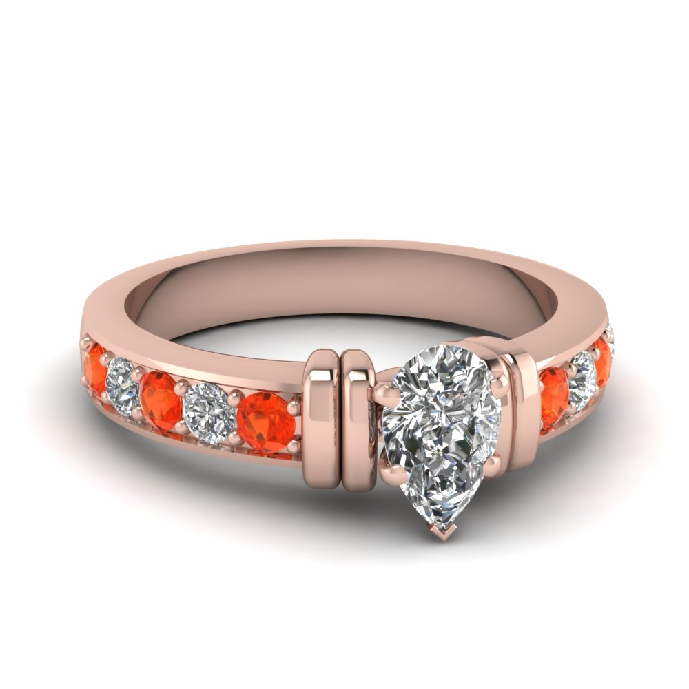 simple bar set pear lab diamond engagement ring with orange topaz in FDENR957PERGPOTO Nl RG