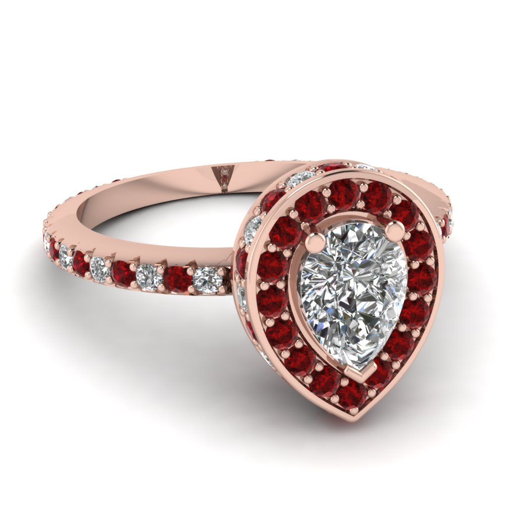 Pear Halo Ring with Rubies