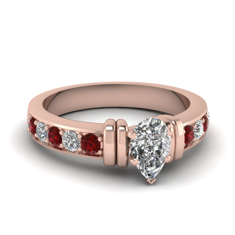 simple bar set pear lab diamond engagement ring with ruby in FDENR957PERGRUDR Nl RG