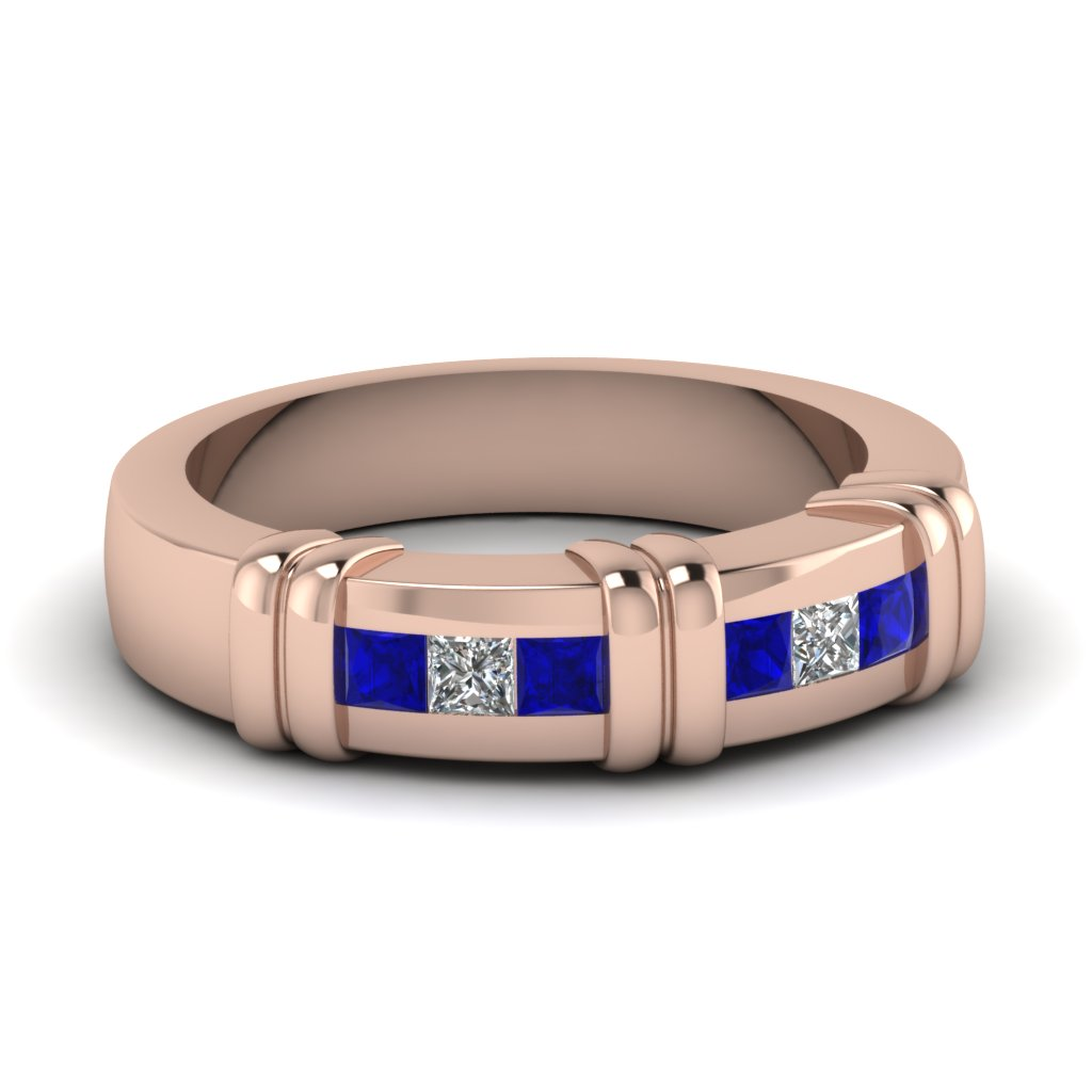 Princess Cut Sapphire And Diamond Wedding Mens Band in Rose Gold