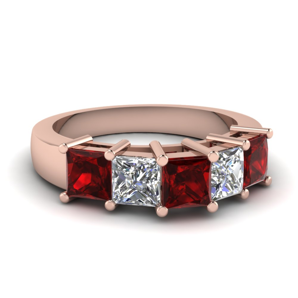 princess cut 5 stone wedding anniversary band with ruby in FD121358BGRUDR NL RG
