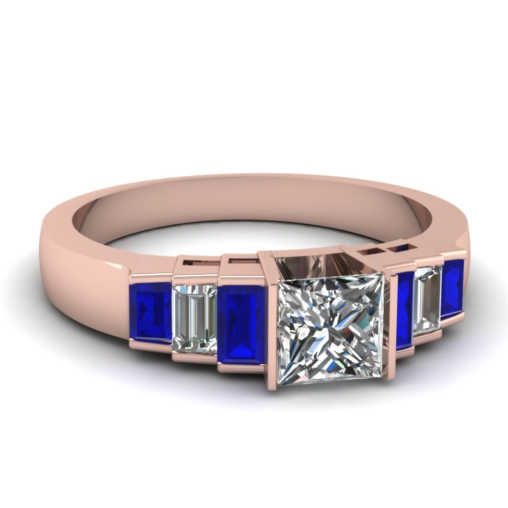 Sapphire Engagement Ring With Diamond Side Stones