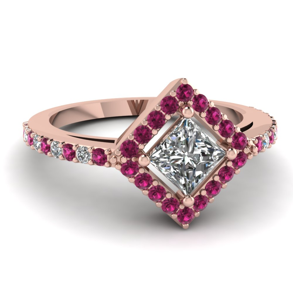 Halo Pink Sapphire Princess Cut Engagement Ring