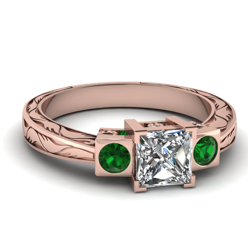 Engraved Princess Cut Emerald Ring
