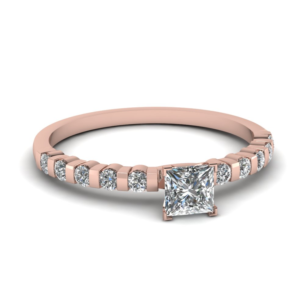 Rose Gold Princess Cut Diamond Engagement Ring Bar Set