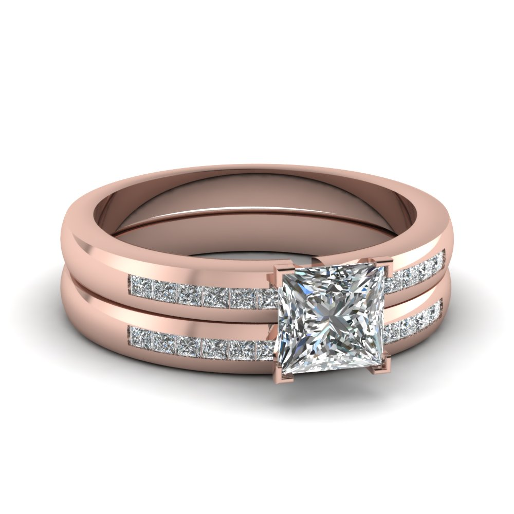 Rose Gold Princess White Diamond Engagement Wedding Ring In Chanel Set