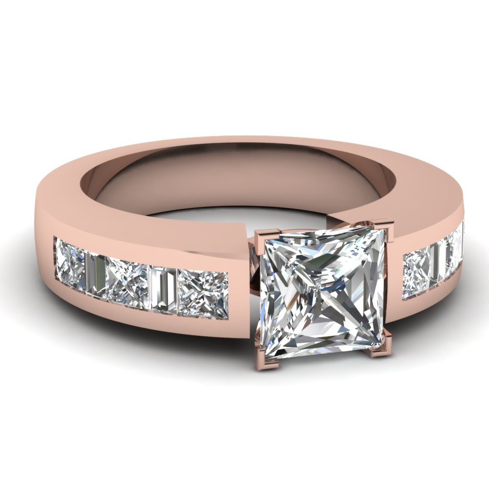 Rose Gold Beautiful Princess Cut Diamond Engagement Ring