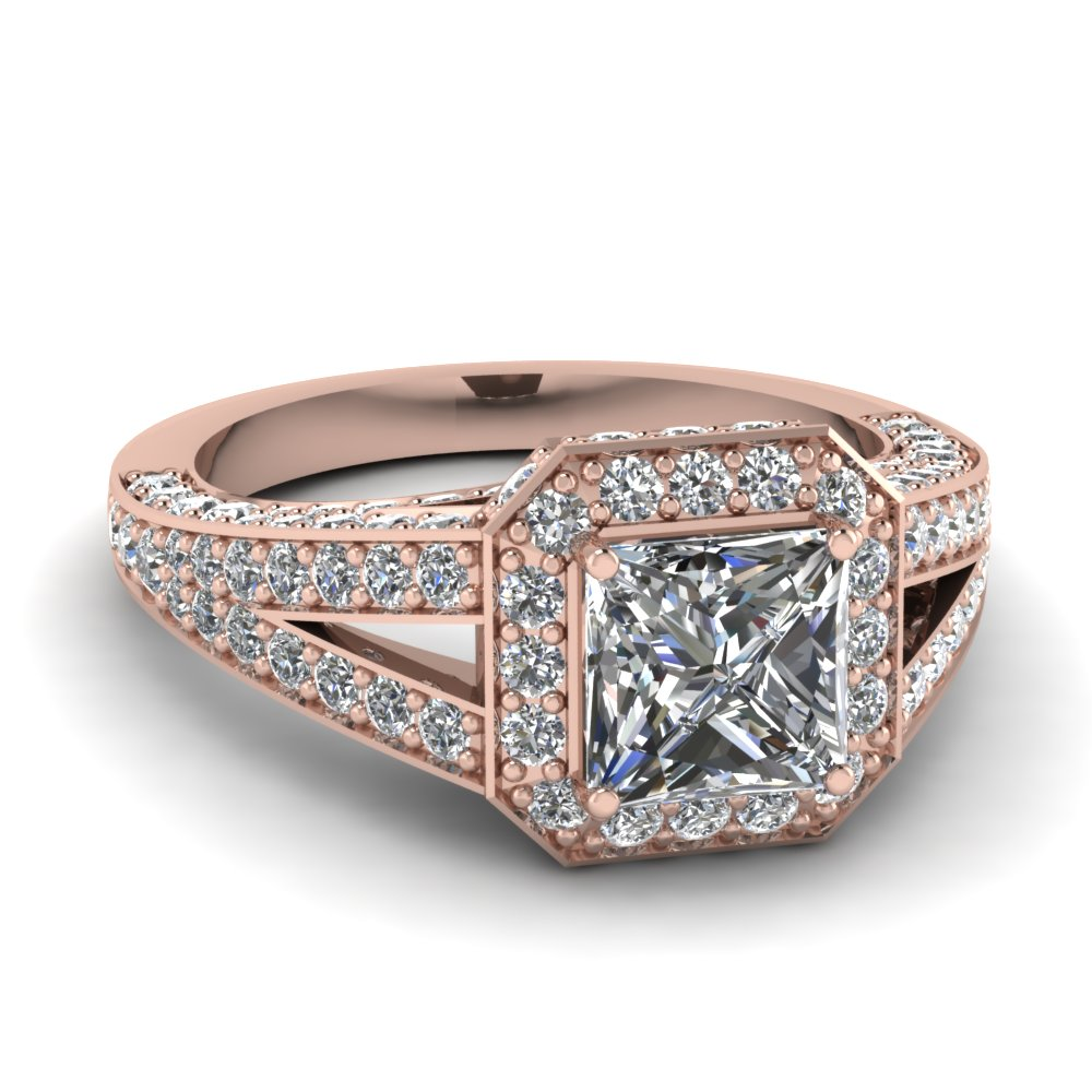 square pave halo diamond engagement ring in FD67859PRR NL RG