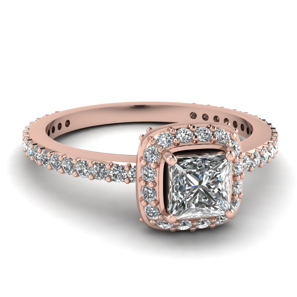 Princess Cut Diamond Halo Engagement Rings With White Diamond In 14k Rose  Gold