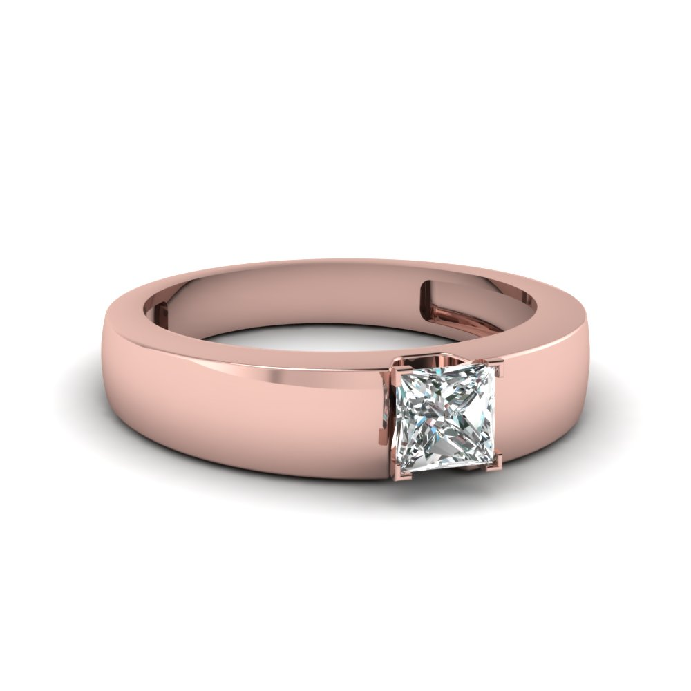 Flat Solitaire Princess Cut Engagement Ring In 18K Rose Gold ...
