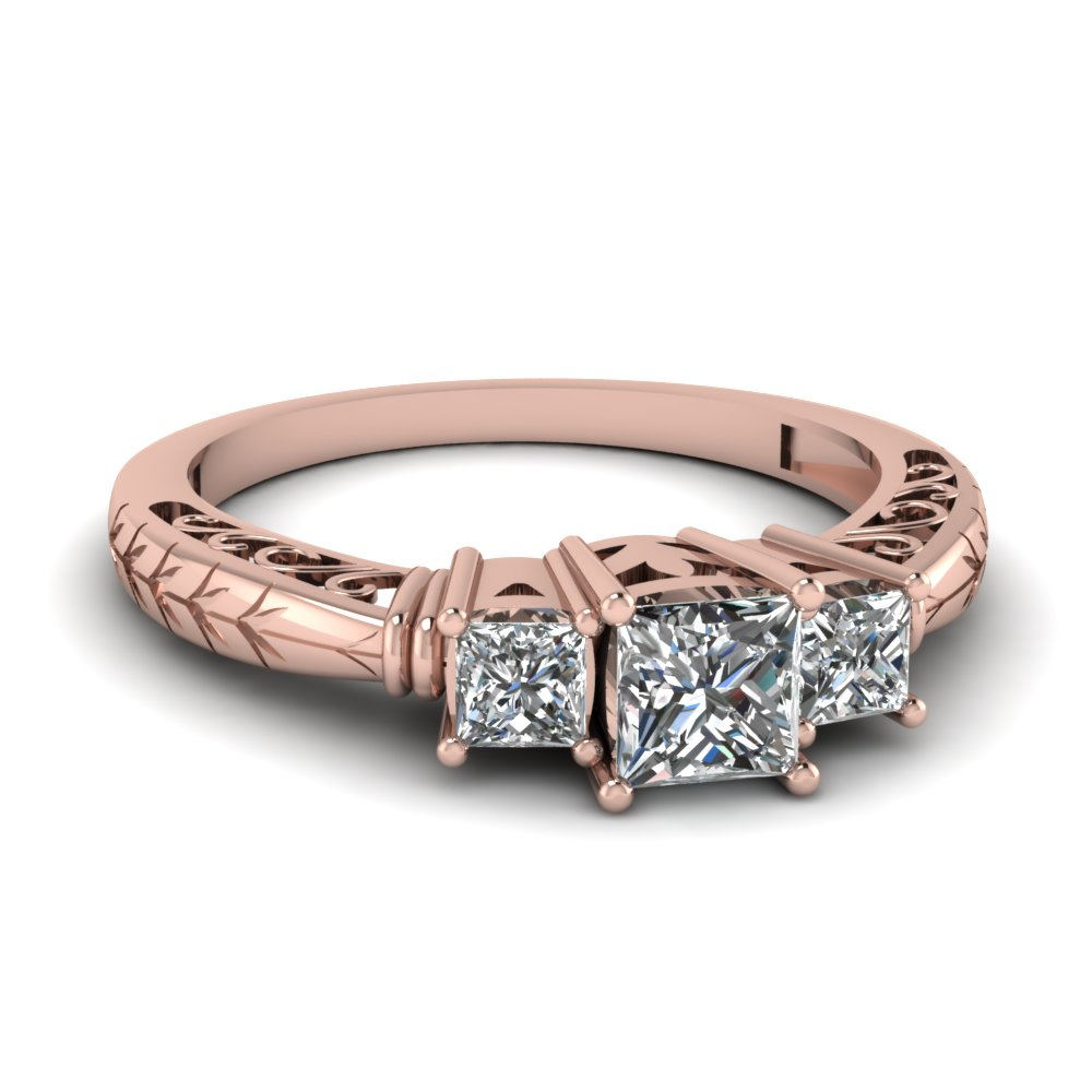 3 Stone Princess Cut Filigree Ring