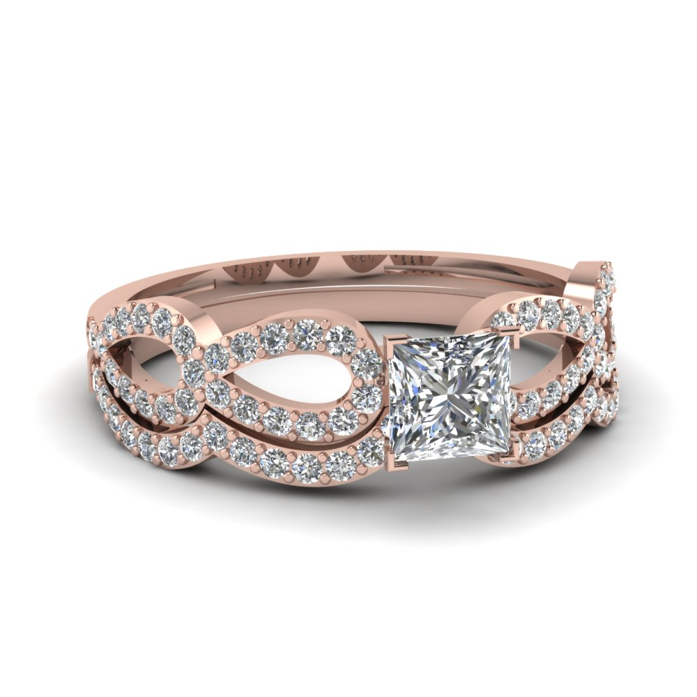 princess cut diamond infinity loop bridal set in fdens3040pr nl rg 30 - Rose Gold Wedding Ring Sets