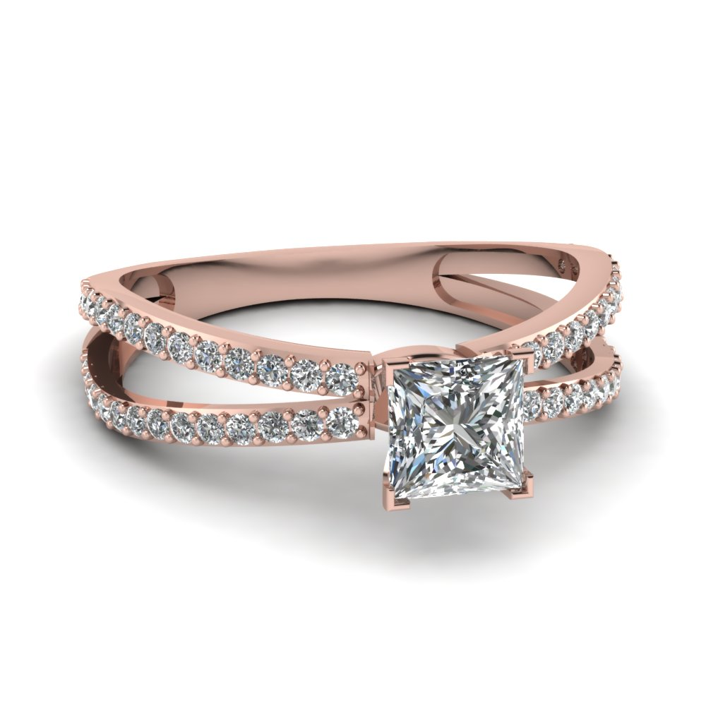 Rose Gold Princess Cut Split Shank Rings