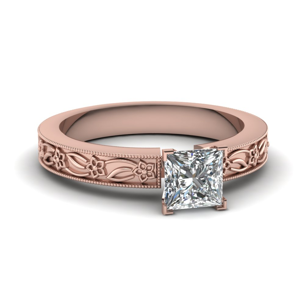 engraved flower princess cut solitaire engagement ring in FDENS3537PRR NL RG