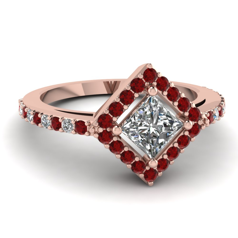 Halo Natural Ruby Engagement Ring