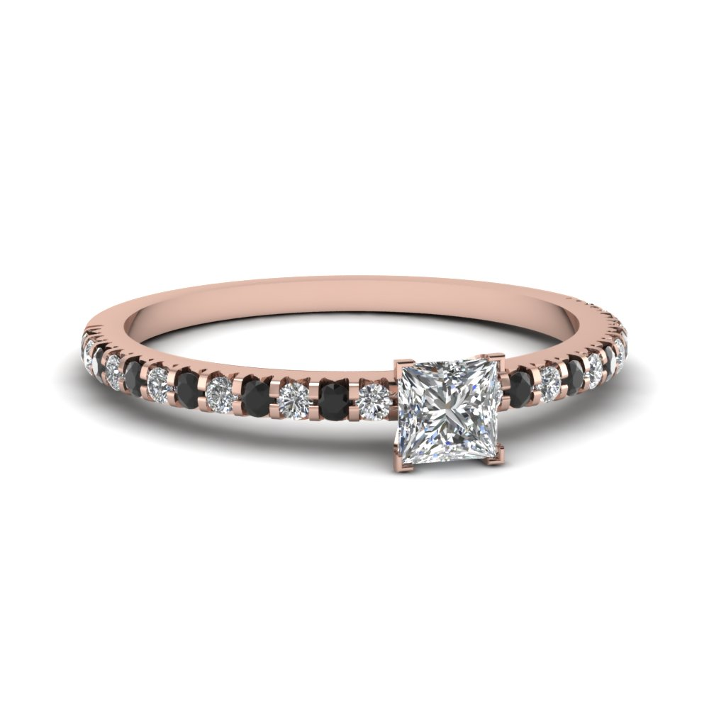 Floating Thin Princess Cut Engagemnet Ring