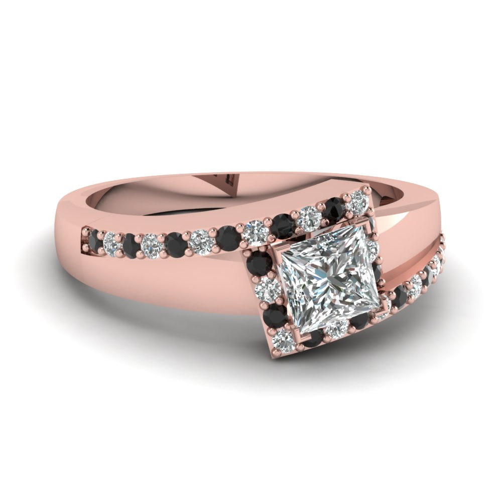 Rose Gold Princess White Diamond Engagement Wedding Ring With Black Diamond I