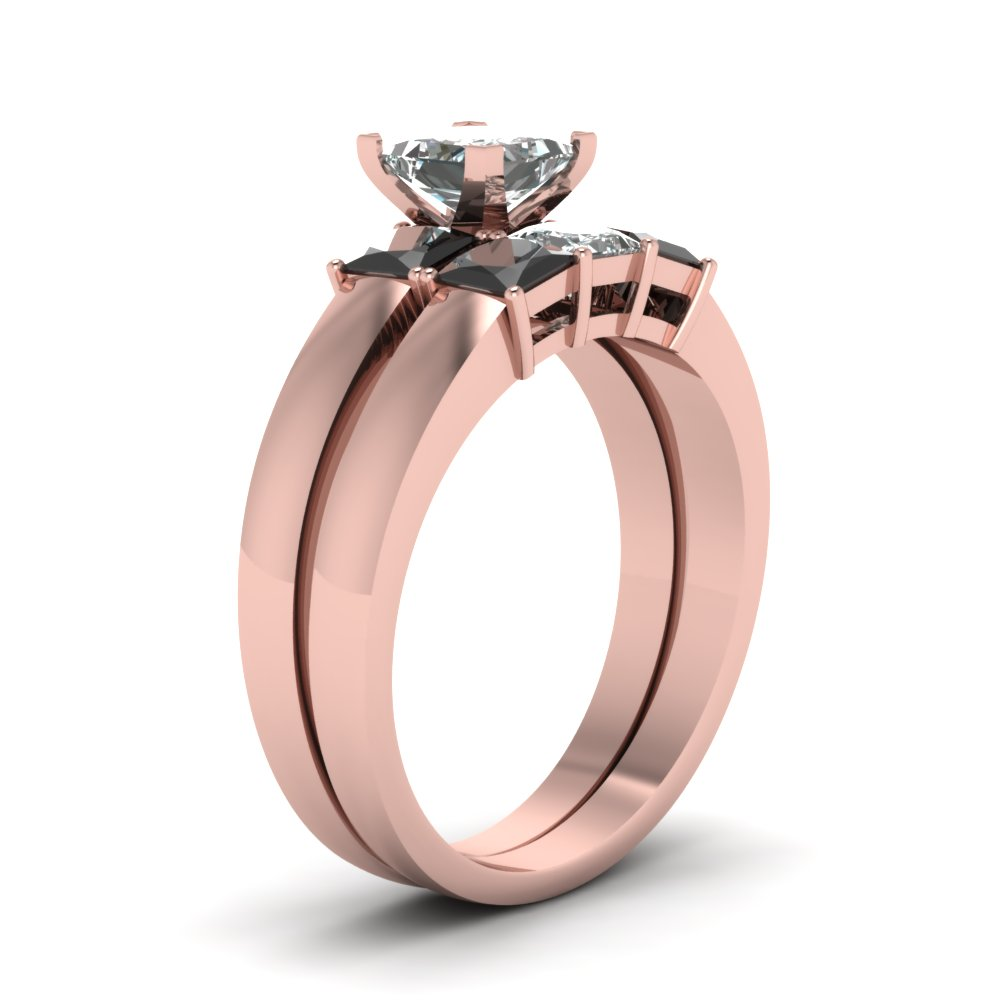 Dainty 3 Stone Princess Cut Wedding Ring Set With Black Diamond In ...