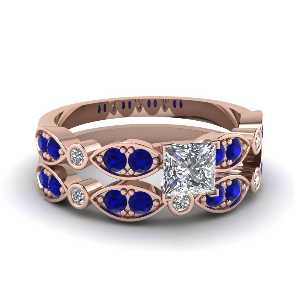 art deco princess cut diamond wedding ring set with sapphire in FDENS2035PRGSABL NL RG