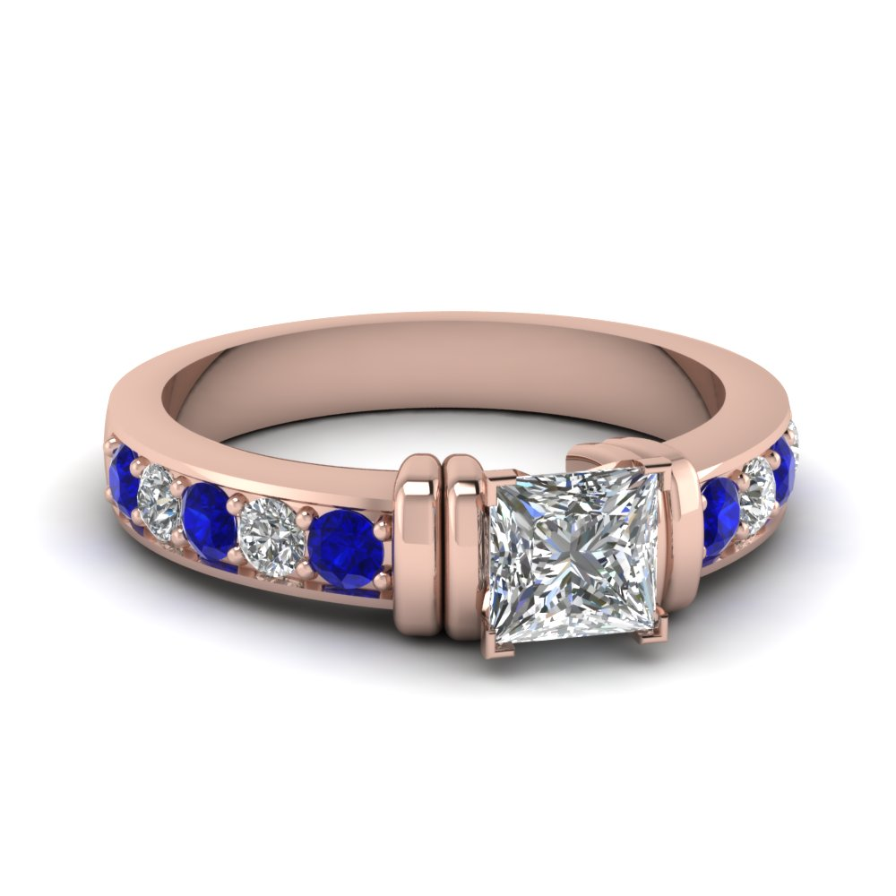 simple bar set princess cut diamond engagement ring with sapphire in FDENR957PRRGSABL Nl RG