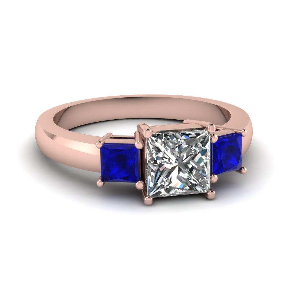 princess cut 3 stone ring with sapphire in FDENR2375PRRGSABL NL RG
