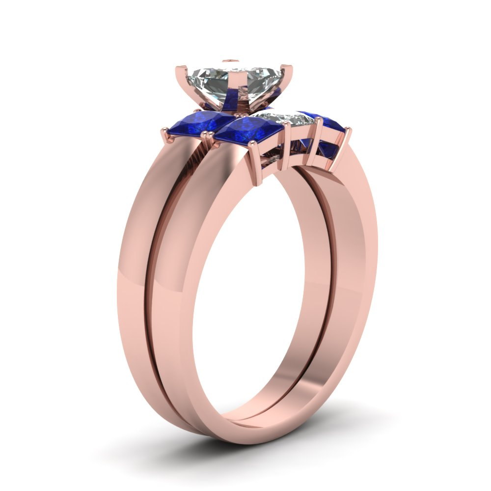 Dainty 3 Stone Princess Cut Wedding Ring Set With Sapphire In 14K ...